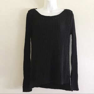 Lucky Brand Black Eyelet Knit Sweater Small